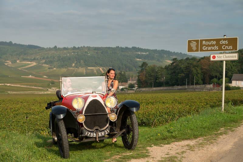 Bugatti in the vines along the Route des Grands Crus