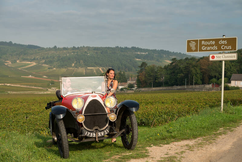 Bugatti in the vines along the Route des Grands Crus