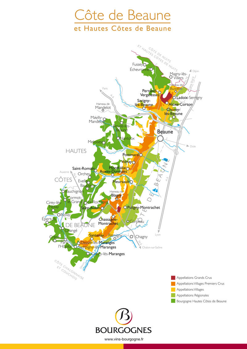 Burgundy wine map - Côte de Beaune