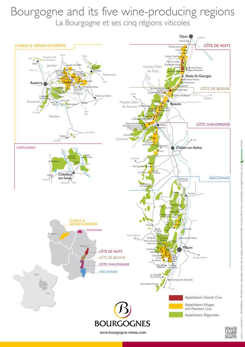 Burgundy wine map