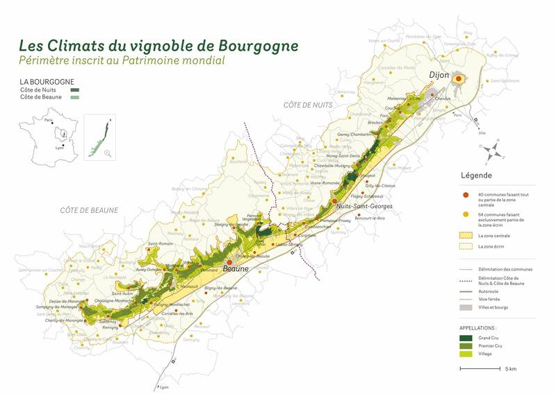 Map of the 'climats', Vineyards of Burgundy