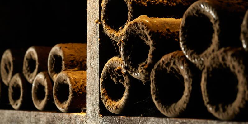 Bottles of wine in the cellar - Burgundy