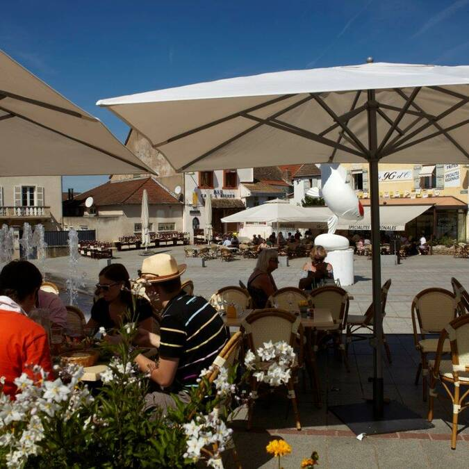 "Enjoying a break on the terraces of the ""Place d'Armes"""